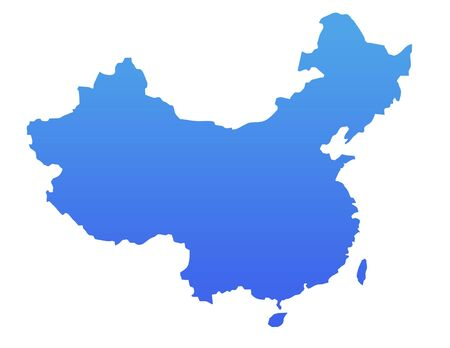 China map in gradient blue, isolated on white background. photo