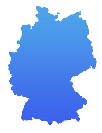 Germany map in gradient blue, isolated on white background. photo