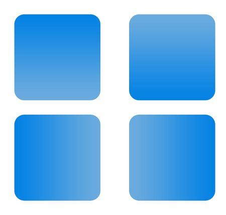 Blue gradient buttons with copy space isolated on white background. photo