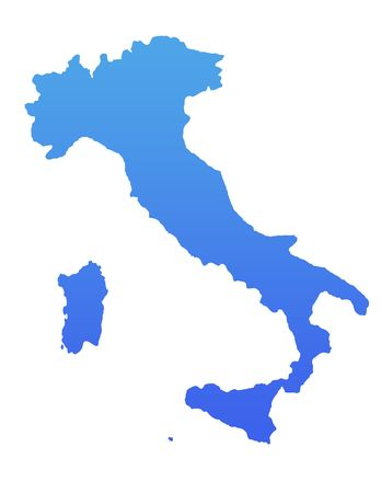 Italy map in gradient blue, isolated on white background. photo
