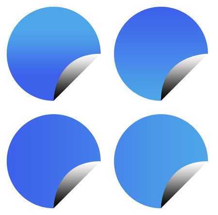 Botones de pegatina en blanco de degradado azul aislados en fondo blanco con espacio de copia.