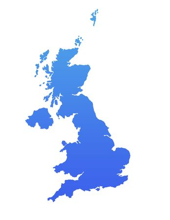 England or United Kingdom map in gradient blue, isolated on white background. photo