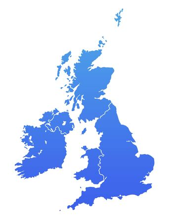 uk map: United Kingdom map in gradient blue, isolated on white background.