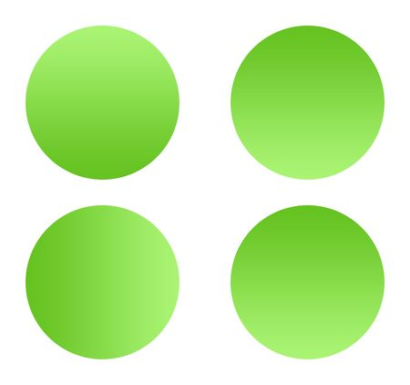 upturned: Green gradient buttons with copy space, isolated on white background.