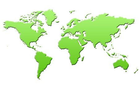 Green eco map of world or planet Earth, isolated on white background.