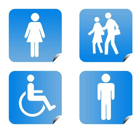 Blue gradient people silhouette buttons isolated on white background. Stock Photo - 6779094