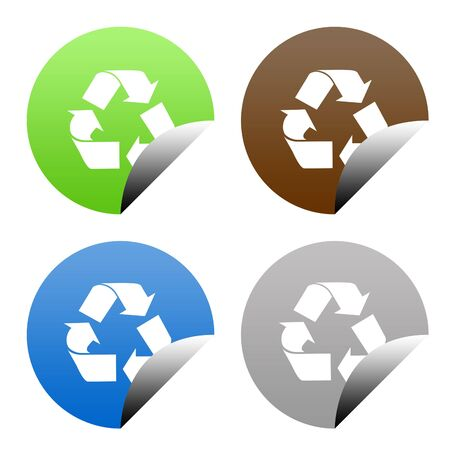 upturned: Set of buttons in eco recycling colors, isolated on white background with copy space. Stock Photo