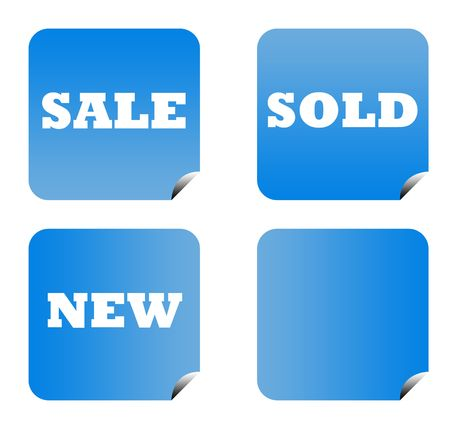 Blue gradient sale buttons with copy space isolated on white background. Stock Photo - 6779099
