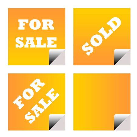 upturned: For sale and sold orange business stickers or labels isolated on white background. Stock Photo