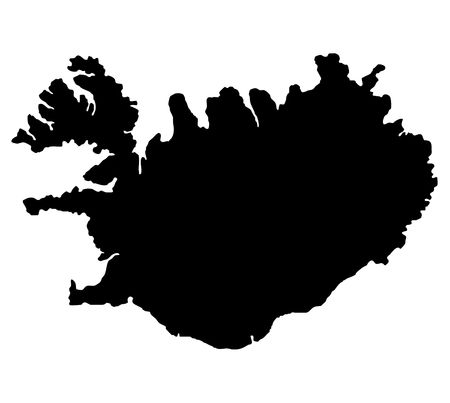 silhouetted: Silhouetted black map of iceland, isolated on white background.
