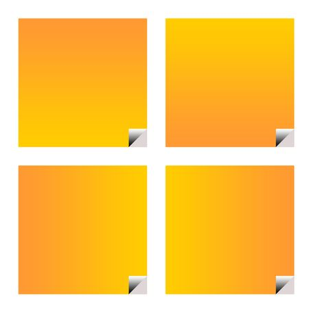 upturned: Blank orange business stickers or labels isolated on white background.