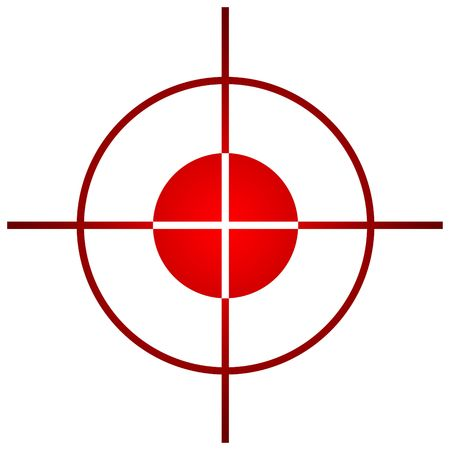 aim: Sniper target scope or sight, isolated on white background. Stock Photo
