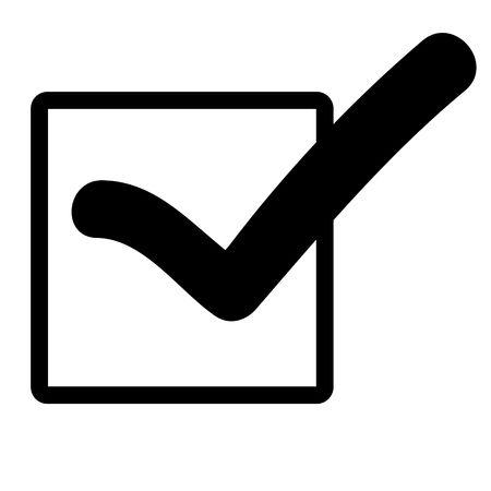 garrapata: Negro silueta de marca o marca de verificaci�n en el cuadro, aislado sobre fondo blanco.