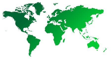 world map outline: Green gradient map of World or Planet Earth, isolated on white background.