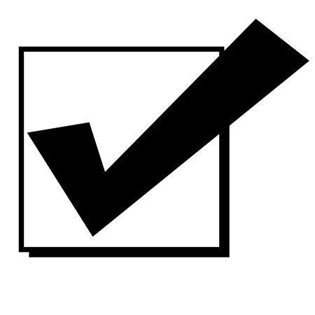 white check mark sign: Black silhouetted tick or check mark in box, isolated on white background. Stock Photo