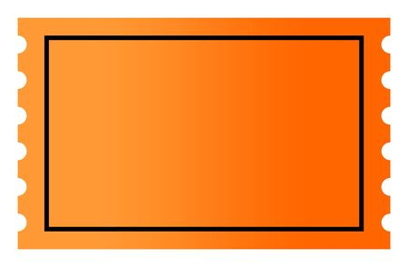 Blank orange gradient ticket with copy space, isolated on white background.