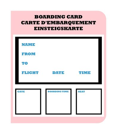 Airline boarding ticket pass in English, French and German, isolated on white background with copy space. photo