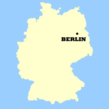 germanic: Map of Germany isolated on a blue background.