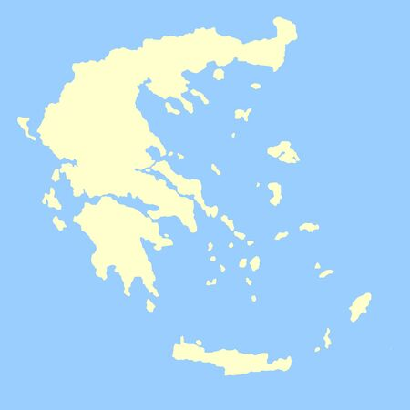 Map of Greece isolated on a blue background. photo