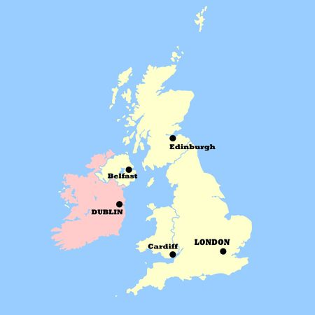 United Kingdom map isolated on a blue background. photo