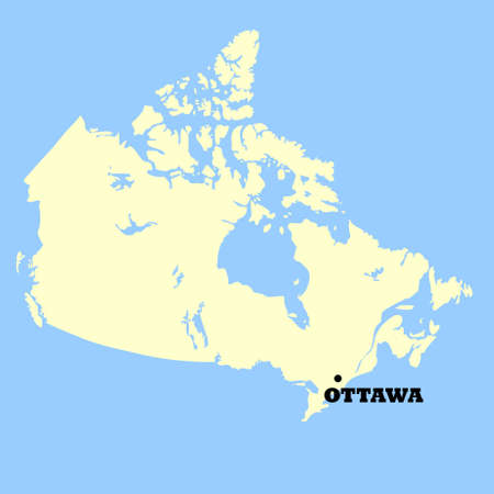 ottawa: Map of Canada isolated on a blue background.