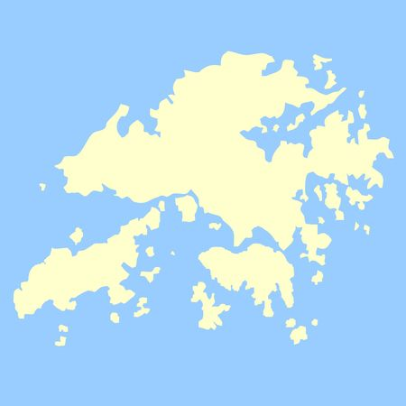 2d map: Map of Hong Kong isolated on a blue background.