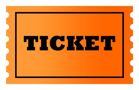 ticketing: Orange gradient ticket with copy space, isolated on white background. Stock Photo