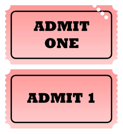 admit one: Two admit one tickets, one punched, isolated on white background with copy space.