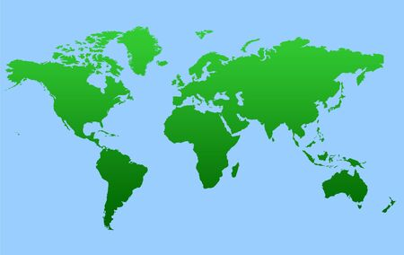 Green gradient map of World isolated on a blue background. photo