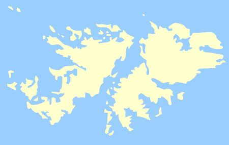 falkland: Map of Falkland Islands isolated on a blue background.