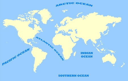 Map of World isolated on a blue background with oceans and sea marked.