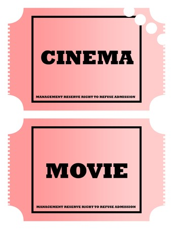 Cinema and movie tickets isolated on white background. photo