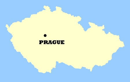 Map of Czech Republic isolated on a blue background with capitol Prague marked. photo