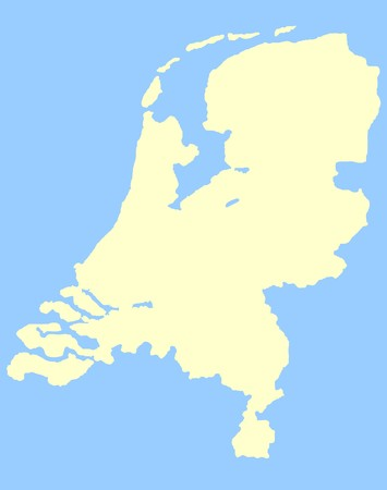 Map of Netherlands isolated on a blue background. Stock Photo - 6884223