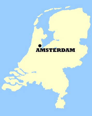 Map of Netherlands with Amsterdam marked, isolated on a blue background. photo
