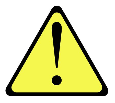 Yellow warning triangle sign with exclamation mark, isolated on whte background. Stock Photo - 6884234
