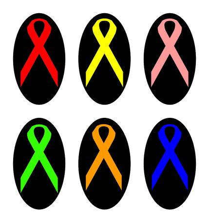 Set of colorful awareness ribbons in black oval shapes, isolated on white background. photo