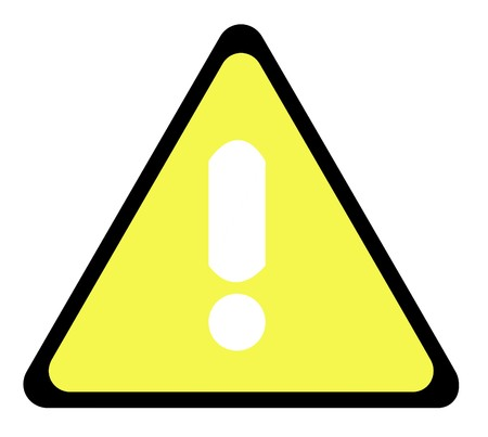 Yellow warning triangle sign with exclamation mark, isolated on whte background. photo