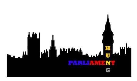 westminster: Conceptual illustration of hung Houses of Parliament after general election, Westminster, London, England.  Stock Photo