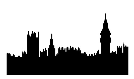 Black silhouette of Houses of Parliament or Palace of Westminster, London, England. Isolated on white background.