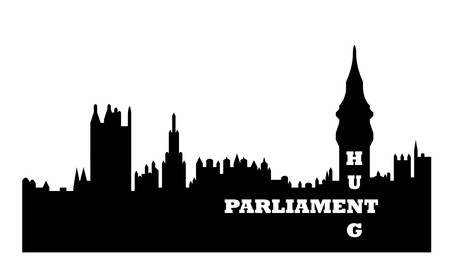 coalition: Conceptual illustration of hung Houses of Parliament after general election, Westminster, London, England.  Stock Photo