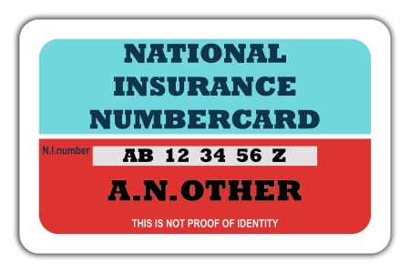 governmental: Blank British National Insurance numbercard, isolated on white background. Stock Photo