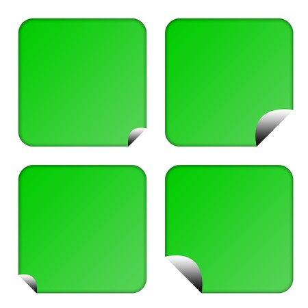 upturned: Set of four blank green eco labels or buttons with upturned corners, isolated on white background. Stock Photo