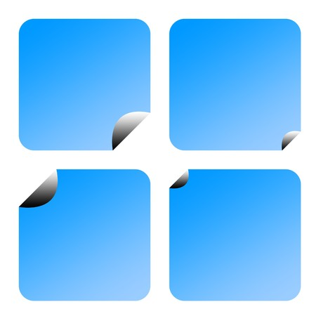 upturned: Set of four partially peeled gradient blue labels or stickers, isolated on white background.