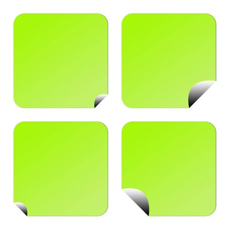 Set of four green eco labels or stickers with upturned corners, isolated on white background. Stock Photo
