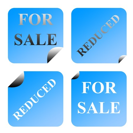 upturned: Set of four partially peeled gradient blue for sale and reduced labels or stickers, isolated on white background. Stock Photo