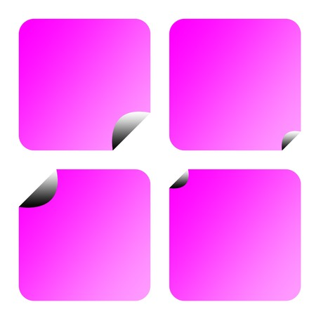 upturned: Blank lilac stickers or labels with copy space isolated on white background.