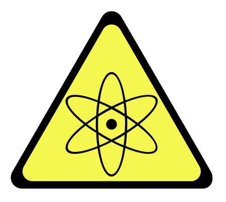 Yellow triangular nuclear warning sign, isolated on whte background. Stock Photo - 6984912