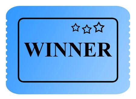 loteria: Ganar el boleto de rifa o loter�a azul con bordes aserrados aislados sobre fondo blanco.