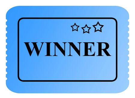 winning first: Winning blue raffle or lottery ticket with serrated edges  isolated on white background.